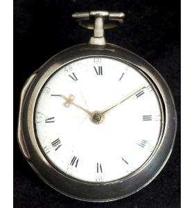 Antique Silver Pair Case Pocket Watch Fusee Verge Escapement Key Wind Enamel Dial W J Wolverhampton