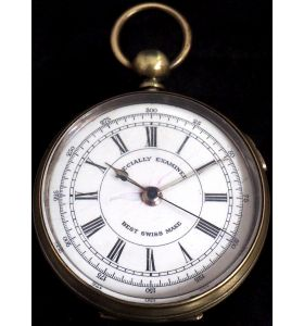 Antique Chronograph Pocket Watch Sweeping Stop Start Seconds Hand Swiss Made Key Wind.