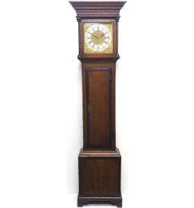 18THC Longcase Clock Fine English Oak Grandfather Clock Silver & Brass Dial C1728