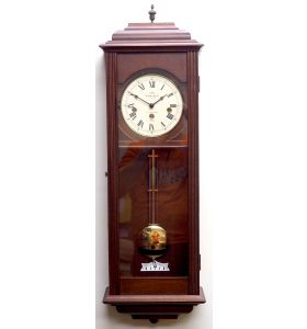 Incredible Vintage Musical Westminster Chime Wall Clock 8-Day Mahogany Case Made by Sewills of Liverpool