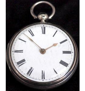 Antique Silver Pair Case Pocket Watch Fusee Lever Escapement Key Wind Enamel Dial Nice