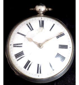 Antique Silver Open Case Pocket Watch Fusee Verge Escapement Key Wind F Hiahams Canterbury