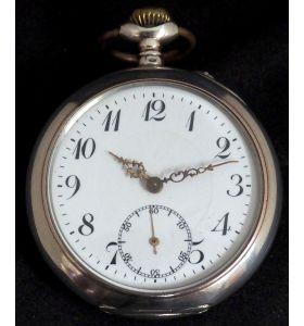 Antique Silver Pocket Watch Keyless Wind Open Face Pocket Watch Swiss Made