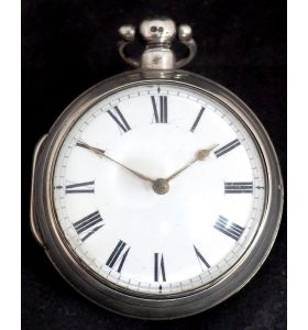 Antique Silver Pair Case Pocket Watch Fusee Verge Escapement Key Wind Enamel Dial Signed Richardson London