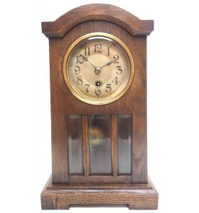 Antique German Mantel Clock Bevelled 4 Glass Mantle Clock By HAC