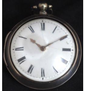 Antique Silver Pair Case Pocket Watch Fusee Verge Escapement Key Wind Enamel Dial James Bucknell
