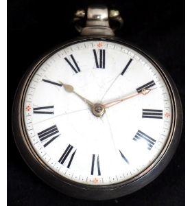 Antique Silver Pair Case Pocket Watch Fusee Verge Escapement Key Wind Enamel P Edmonds Liverpool