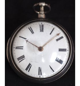 Good Antique Silver Pair Case Pocket Watch Fusee Verge Escapement Key Wind Enamel Dial Robinson London