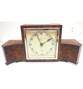 Perfect Burr Walnut Vintage Mantel Clock Art Deco Mantle Clock by Elliott of London