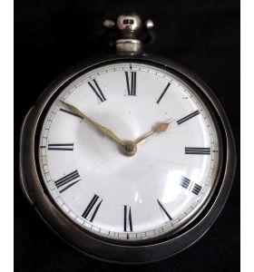 Antique Silver Pair Case Pocket Watch Fusee Verge Escapement Key Wind Enamel Dial
