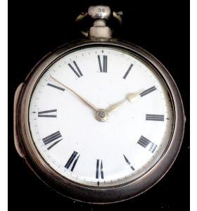 Great Antique Silver Pair Case Pocket Watch Fusee Verge Escapement Key Wind Enamel Dial Johnson London