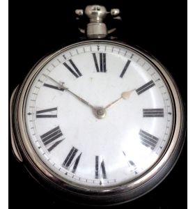 Antique Silver Pair Case Pocket Watch Fusee Verge Escapement Key Wind Enamel Dial M Moore Hillsborough
