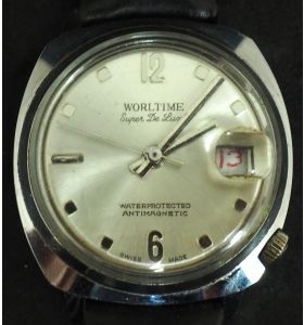 Vintage Gents Manual Wind Wrist Watch by Worldtime Silver Dial Leather Strap