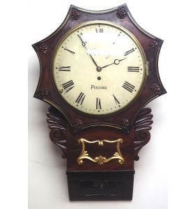 Rare Antique Drop Dial Wall Clock 8 Day Single Fusee Movement Signed J H Harvey Penzance