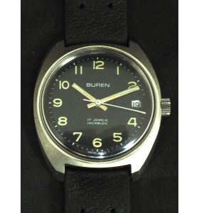 Vintage Gents Manual Wind Wrist Watch by Buren Black Dish Dial Leather Strap with Date App