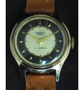 Vintage Gents Manual Wind Wrist Watch by Smiths Black & Cream Dial Leather Strap Red Arrow Sweeping Seconds Hand