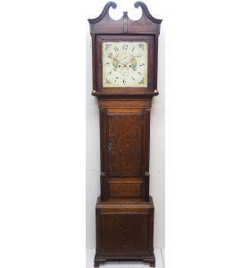 18THC Longcase Clock Fine Welsh Oak Bala Grandfather Clock Painted Dial C1844