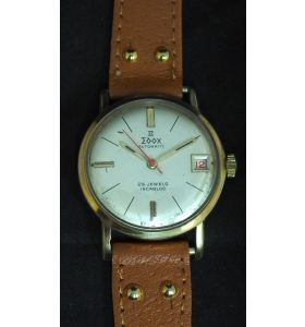 Vintage Gents Automatic Wind Wrist Watch by Edox Silver Dial Leather Strap Red Sweeping Seconds Hand