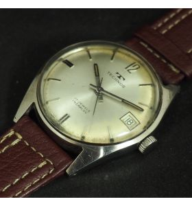 Vintage Gents Manual Wind Wrist Watch by Technos Silver Dish Dial Leather Strap Sweeping Seconds Hand