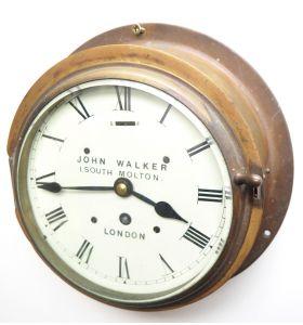 Rare Railway Station Bulkhead Wall Clock, Elliott London Movement Station Wall Clock by John Walker London 10048