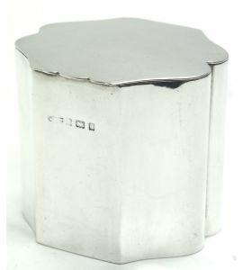 English Antique Solid Silver Tea Caddy, Super Design Fresh and Clean Circa 1890