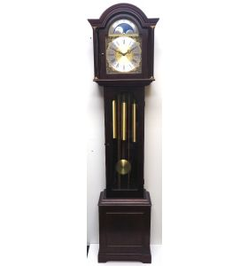 18THC English Style Chiming Longcase Clock Mahogany Case Silver & Brass Dial Moon Roller Triple Chime Grandfather Clock