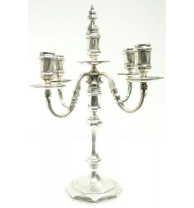 English Antique Solid Silver Centre Piece Candelabra, Super Design Fresh and Clean Art Deco Circa 1930s