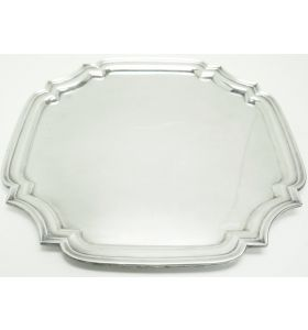 English Antique Solid Silver Tray, Super Design Fresh and Clean Circa 1970s 801grams
