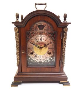 Fine Dutch Walnut Mantel Clock 8 Day Miniature Bracket Clock with Moon Roller