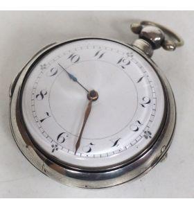 Antique Silver Pair Case Pocket Watch Fusee Verge Escapement Key Wind Enamel Dial Thomas Cooker Oakham