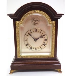 Impressive Mahogany Edwardian Bracket Clock Timepiece Mantel Clock