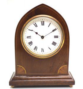 Impressive Thin Mahogany Edwardian Lancet Clock Timepiece Mantel Clock