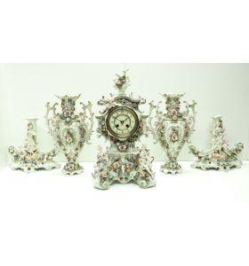 Original Stiffondou Porcelain Mantel Clock Figural Striking 8-Day Mantle Clock rare 5 Piece Set C1880