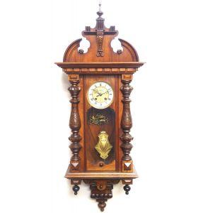 Wow! Antique German Spring Driven Striking 8- day Vienna Wall Clock  By Gustav Becker
