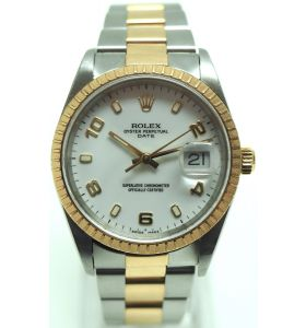 Vintage Steel & Gold Gents Rolex Watch – Rolex Oyster Perpetual Date Rare White Dial Box & Papers