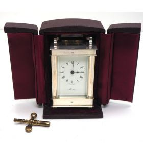 Superb Solid Silver Miniature French 8 Day Carriage Clock Lever Platform Circa 1985