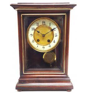 Rare Antique German Mantel Clock Bevelled 4 Glass Mantle Clock By HAC