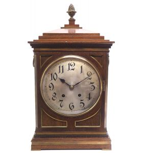 Superb Antique German Mahogany & Brass 8-Day Mantel Clock Quarter Striking Bracket Clock by W&H
