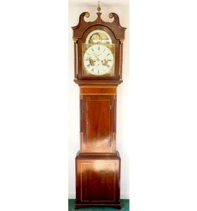 Fine English Longcase Clock Radcliff Elland 8-Day Grandfather Clock with moon roller dial