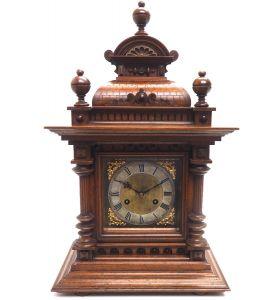 Fine Antique German Carved Oak 8-Day Mantel Clock Gong Striking Bracket Clock by Junghans