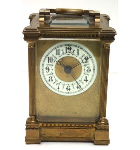 Rare Antique French 8-Day Carriage Clock Unusual Masked Dial Case with Sweeping Secs Hand