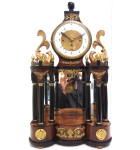 Superb Early Viennese Biedermeier Grand Sonnerie Mantel Clock Striking 2 gongs signed Rettich in Wien