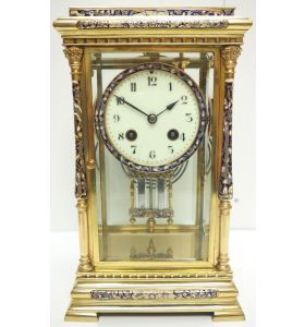 Awesome Antique French Champlevé Ormolu Bronze 8 Day Striking Mantel Clock C1880