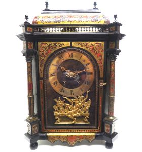 Rare Antique French Boulle Mantel Clock Ormolu Inlay 8 Day Gallery Top Mantle Clock