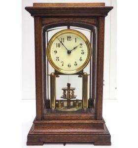 Rare Gustav Becker 400-Day Torsion Clock German Mantel Clock Mahogany & Bevelled Glass Case