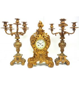 Impressive Candelabra Clock Set French Rococo Ormolu Bronze Mantel Clock.