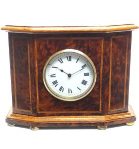Rare Afzelia burl Wood Victorian Timepiece 8-day Clock with Satinwood Inlaid Decoration