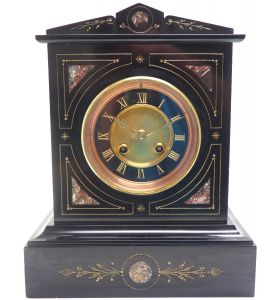 French Slate & Mable Mantel Clock 8 Day Striking Mantle Clock