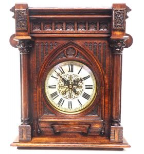 Interesting Rare German Striking Bracket Clock by Lenzkirch in Gothic Oak Glazed Case