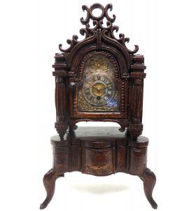 Unusual Rare 18Th Century Austrian Verge Table Mantel Clock Pull Alarm.